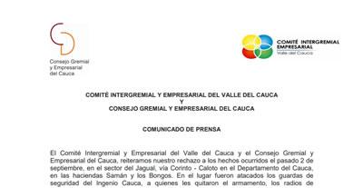 Comunicado  Comité Intergremial y Empresarial del Valle del Cauca y  Consejo Gremial y Empresarial del Cauca