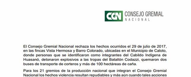 El Consejo Gremial Nacional rechaza los hechos ocurridos en el Departamento del Cauca